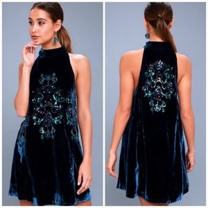 NWT Free People M Velvet Sequin Mini Dress